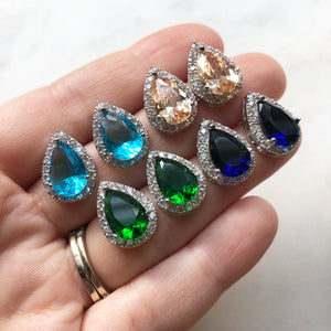 Crystal Stud Earrings - Choose color
