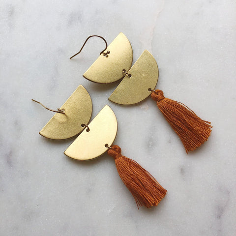 Gold Tassel Earrings in Beige