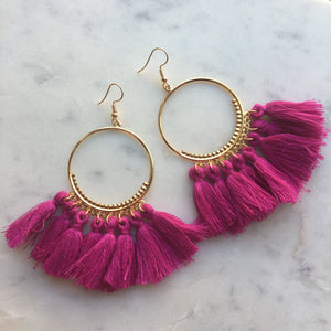 Fan Tassel Earrings, Hoop Earrings