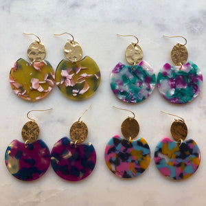 Gold Tortoise Shell Acrylic Earrings