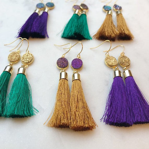 Mardi Gras Earrings, Mardi Gras Jewelry, Druzy Tassel Earrings