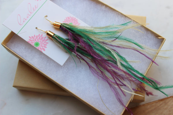 Mardi Gras Earrings, Feather Earrings