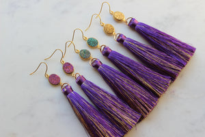 Mardi Gras Earrings, Mardi Gras Jewelry, Purple and Gold Earrings, Statement Earrings