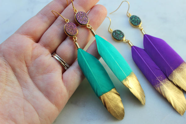 Mardi Gras Feather Earrings, Mardi Gras Jewelry