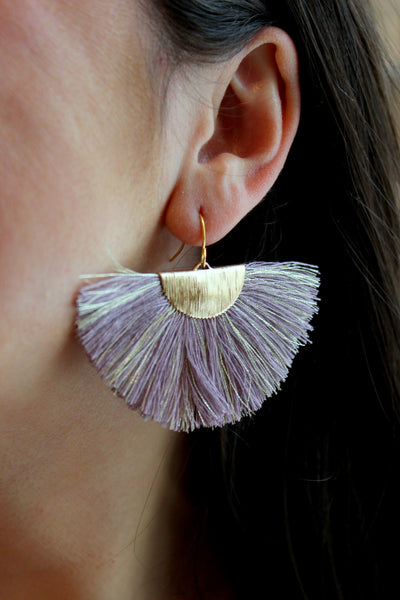 Gold Fan Fringe Earrings, Purple Fan Fringe Earrings