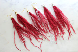 Red Fringe Earrings, Long Feather Earrings, Red and White Gameday earrings