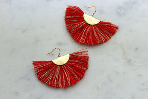 Red Fan Fringe Earrings, Red Tassel Earrings, Gameday Jewelry