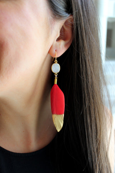 Red Feather Earrings, Gold Dipped Earrings, Gold and Red Earrings