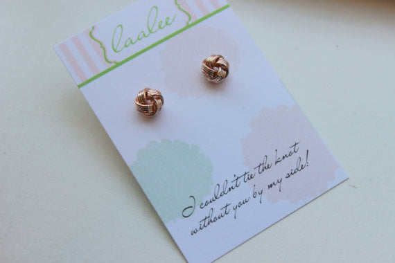 "Rose Gold ""Tie the Knot"" Stud Earrings"