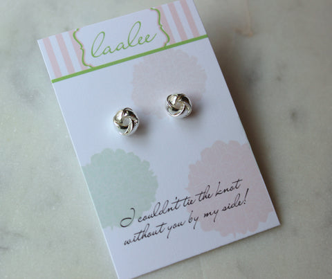 Silver Tie the Knot Stud Earrings