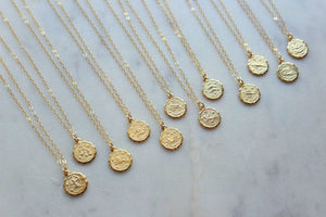Gold Zodiac Necklace, Gold Coin Necklace, Celestial Necklace