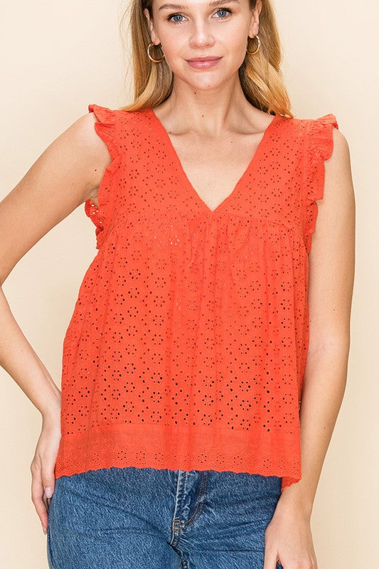 Whimsy Eyelet Babydoll Top - Red Orange