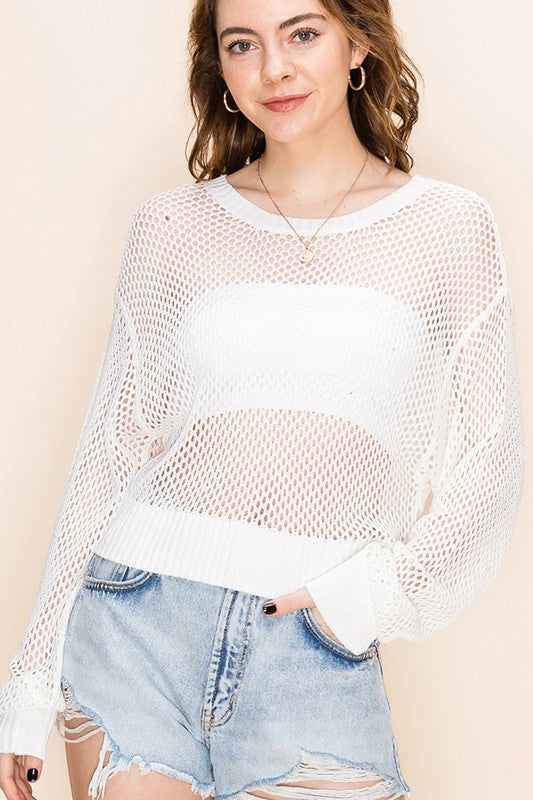 Open Knit Cropped Sweater - Off White