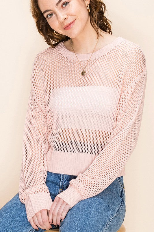 Open Knit Cropped Sweater - Desert Rose