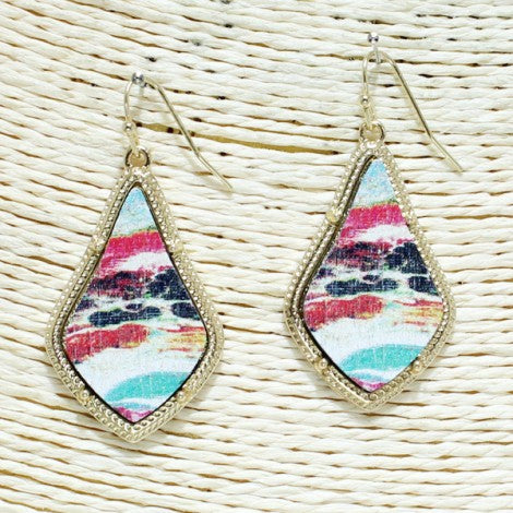 Stone Printed Earrings - Multi