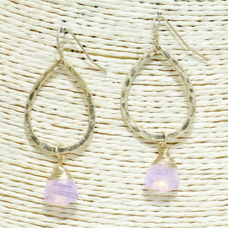 Teardrop Dangle Earrings - Pink