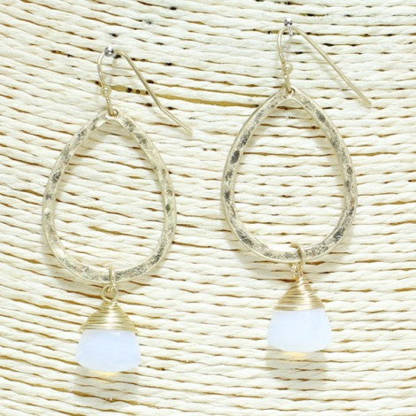 Teardrop Dangle Earrings - White