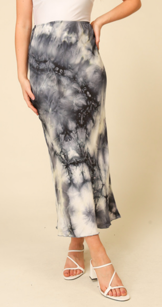 Tie Dye Long Skirt - Navy Combo