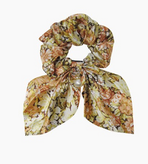 Floral Satin Scrunchie Scarf with Pearl