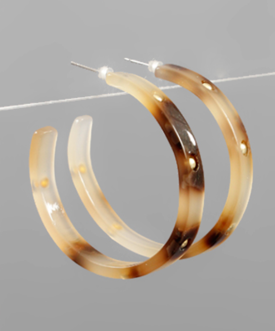 Studded Acrylic Hoops - Light Tortoise