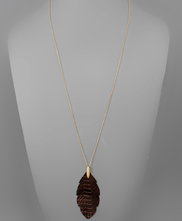 Snake Feather Necklace - Dark Brown