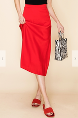 Be My Valentine Satin Midi Skirt - Red