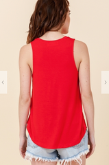 Sleeveless Swing Top - Red