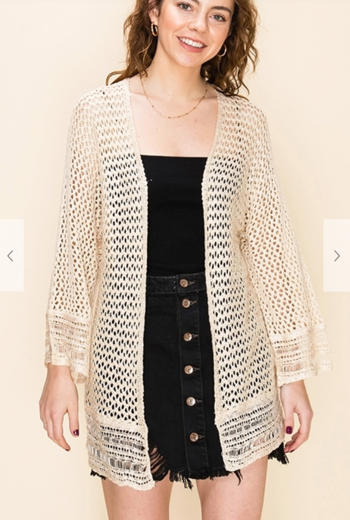 Open Knit Cardigan - Sand