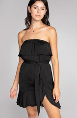 Tube Ruffled Dress - Black