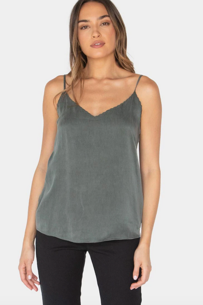 Embroidered Scalloped Cami Tank - Olive / Dark Laurel