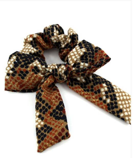 Brown Snake Print Tie Scrunchie