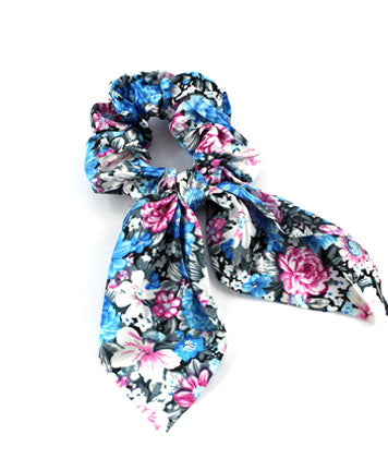 Satin Floral Ponytail Scrunchie Scarf - Blue & Pink