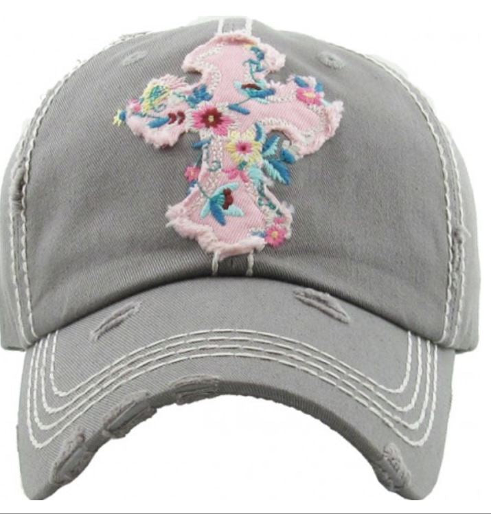 Grey Floral Cross Ragged Hat