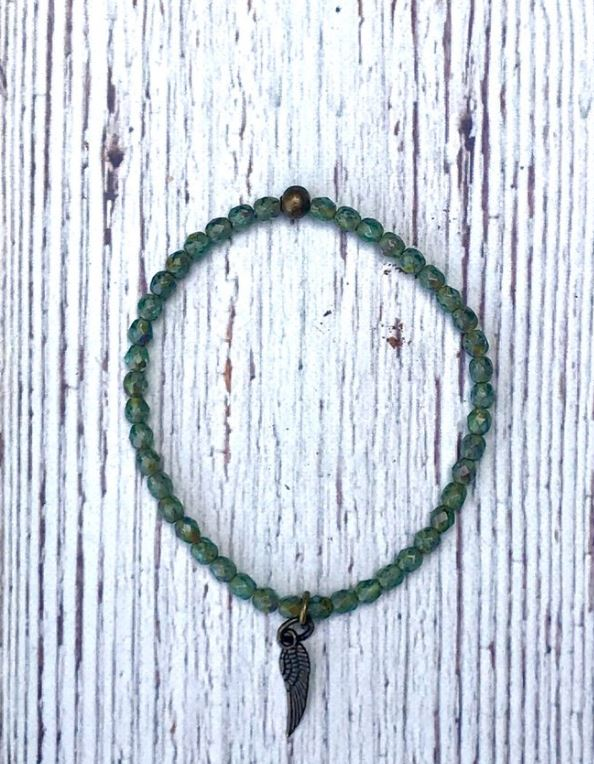 Petite Beaded Green Angel Wing Bracelet by Inspire Designs