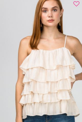 Ruffle Tier Top-Ivory