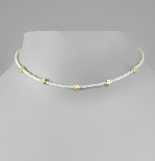 Star Charm Bead Choker- Mint