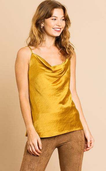 Shiny Gold Cowl Neck Camisole