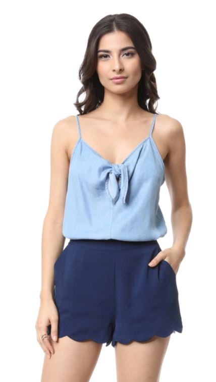 Scalloped Hem Navy Short
