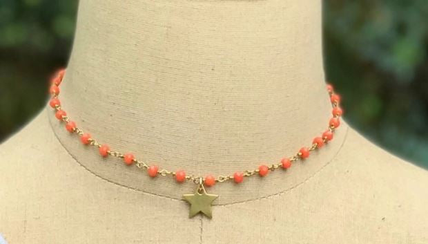 Orange Bead Star Choker by Inspire Designs