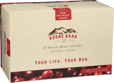 Case of Walnut Dark Chocolate Cranberry Boone Barrs