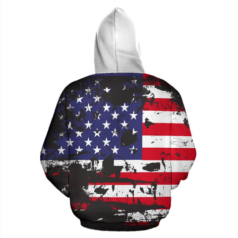Image of American Flag and Tags Zip-Up Hoodie - Deal Sharks