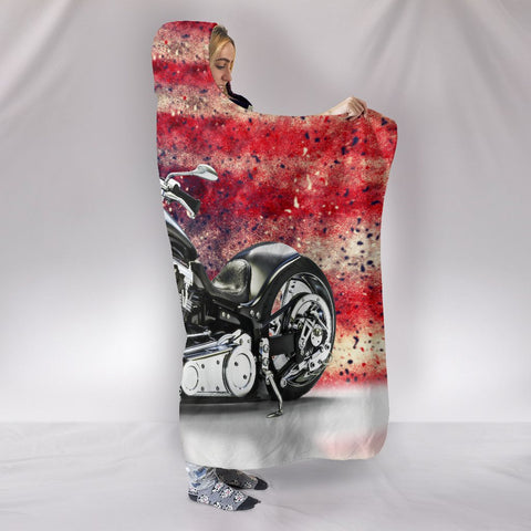 Image of Motorbike With American Flag Hooded Blanket - Deal Sharks