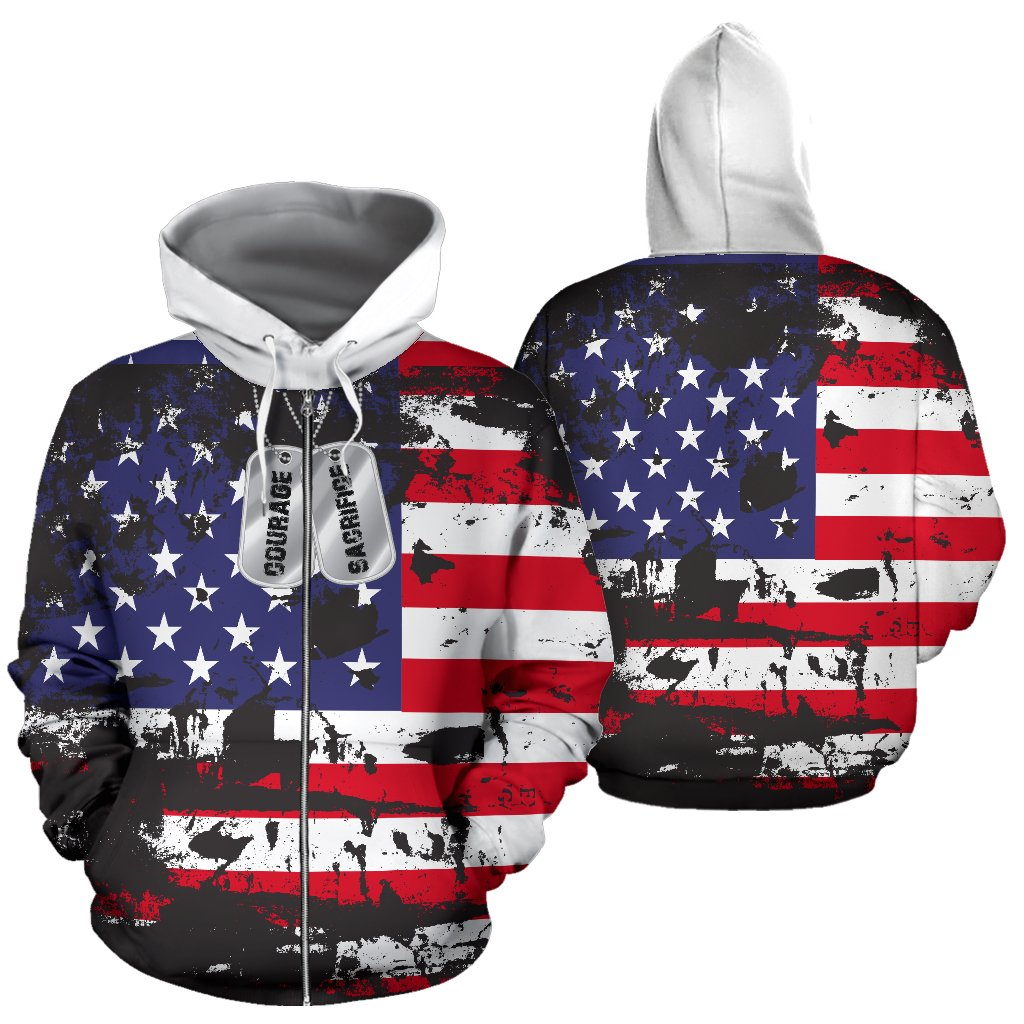 American Flag and Tags Zip-Up Hoodie - Deal Sharks