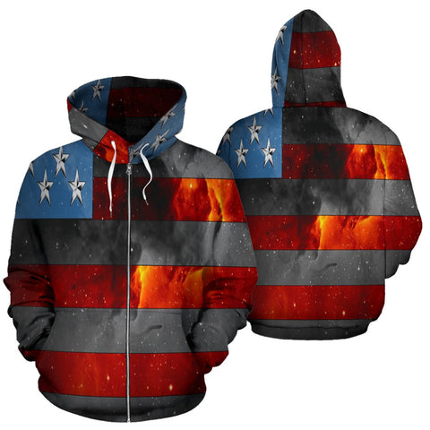Image of American Space Flag Zip Hoodie - Deal Sharks