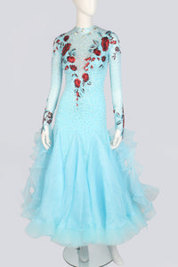 Light Blue and Whine Lace Standard Dress