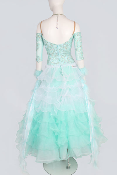 Mint Green and White Tiered Standard Dress