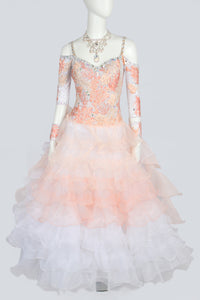 Peach and White Tiered Standard Dress