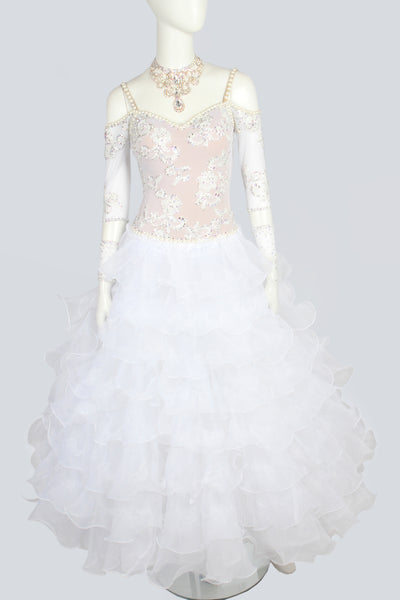 White Pearl Tiered Standard Dress