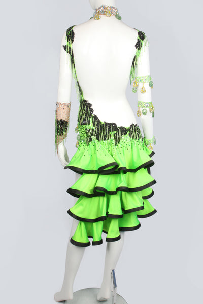 Yellow-Green and Black Latin Dress