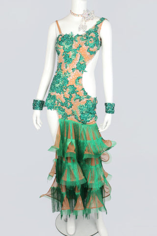 Green Fringe Latin Dress